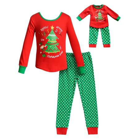 Elf & Tree Long Sleeves Snug Top and Pajama - 2 -Piece Outfit with Matching Doll Set (Little Girls and Big - Elf Girl Pics