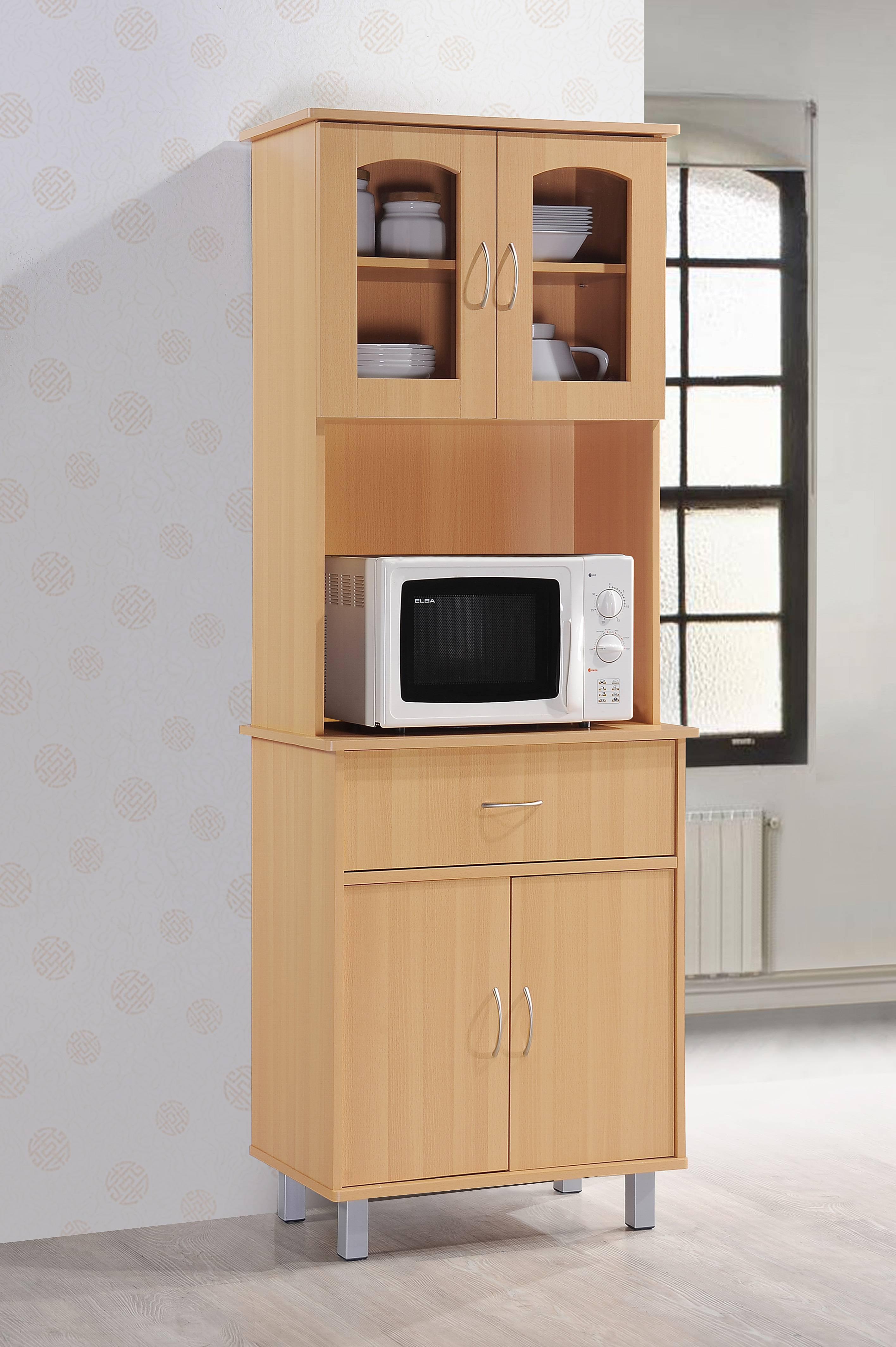 Hodedah Free Standing Kitchen Cabinet, Beech - Walmart.com
