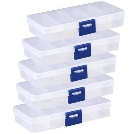 5-pack Small Storage Box with 10 Compartments Plastic Separable for Small Accessories Plastic Jewelry Fishing Hook Container (Small Storage Boxes)