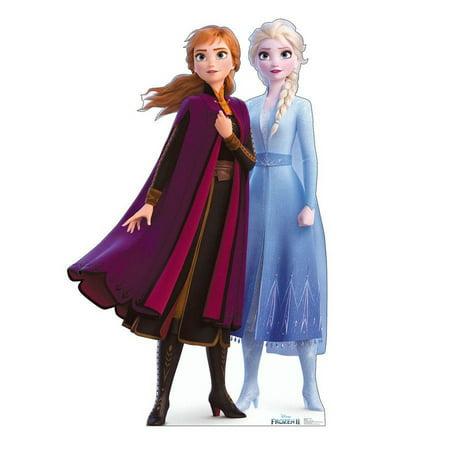 Frozen 2 Anna & Elsa Life Size Cardboard Cutout Stand Up, 6ft Life Size Cardboard Cut Outs