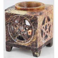 Oil Diffuser in Earth Colored Soapstone Pentagram Cut Out's Add Design Holds Standard Tea light As Heat Source Ready For Scented Oils To Create Relaxing Atmosphere In Your Home Meditation Aromatherapy