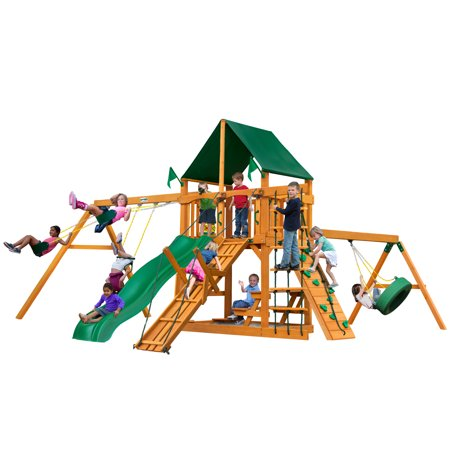 Gorilla Playsets Frontier Wooden Swing Set With Sunbrella Canvas
