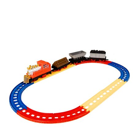 Juvale Railroad Train Set - 12-Piece Railway Train Track and Car Playset, and Educational Toy for Kids, Oval Train Track, Best Gift for Children, 22 x 12 Inches (Educational Train)