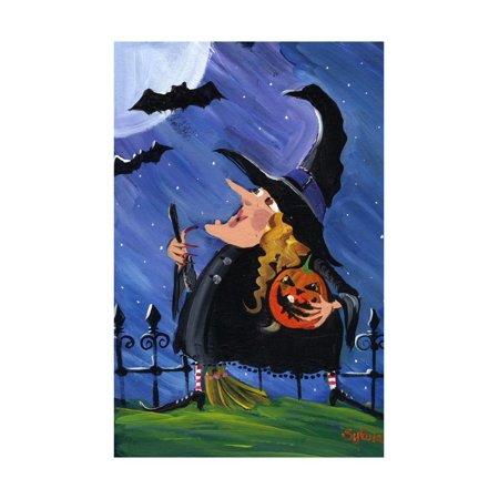 Witch and Bats Halloween Moon Print Wall Art By sylvia pimental](Bat Halloween Clip Art)