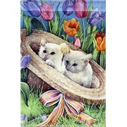 "Hat Kittens Garden Flag Spring Cats Tulips by New Creative 12"" x 18"""