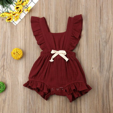 - Infant Baby Girls Bodysuit Sleeveless Ruffles Romper Sunsuit Outfit Plain Basic Backless Playsuit Summer Clothes