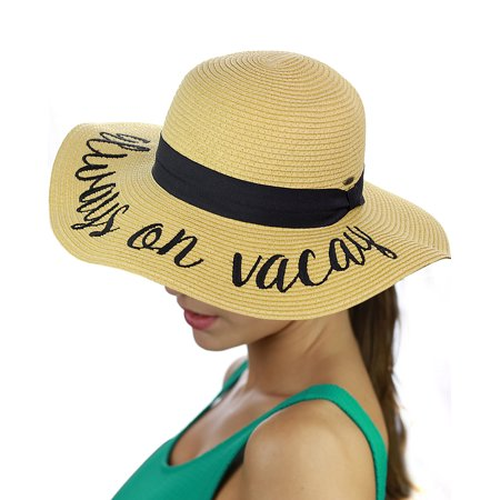 C.C Women's Paper Weaved Beach Time Embroidered Quote Floppy Brim Sun Hat, Always On Vacay - Tam O Shanter Hat