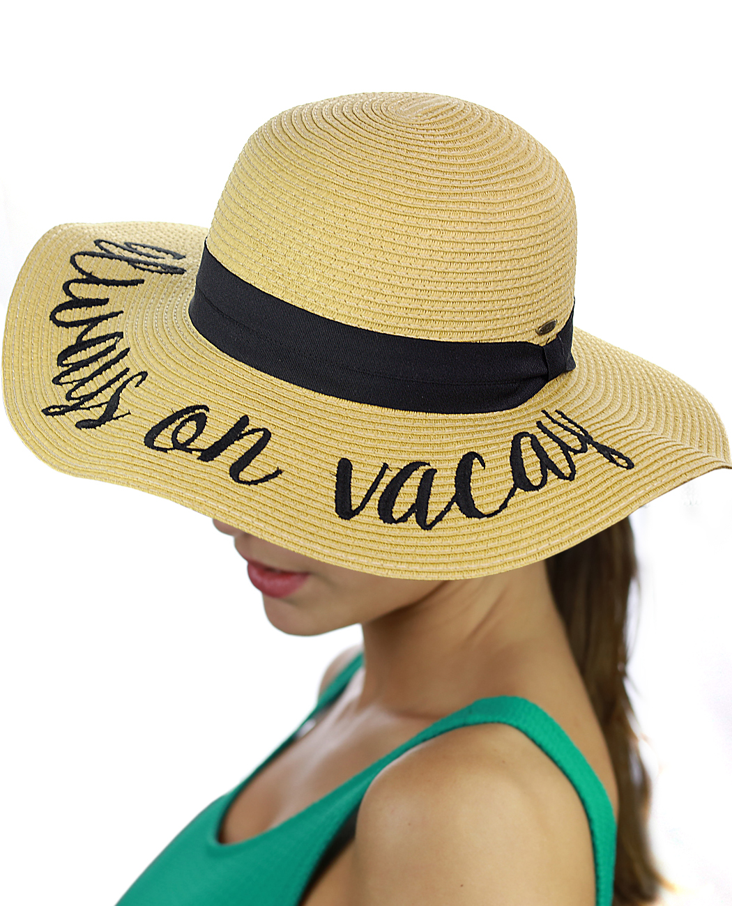 C.C Women's Paper Weaved Beach Time Embroidered Quote Floppy Brim Sun Hat, Always On Vacay