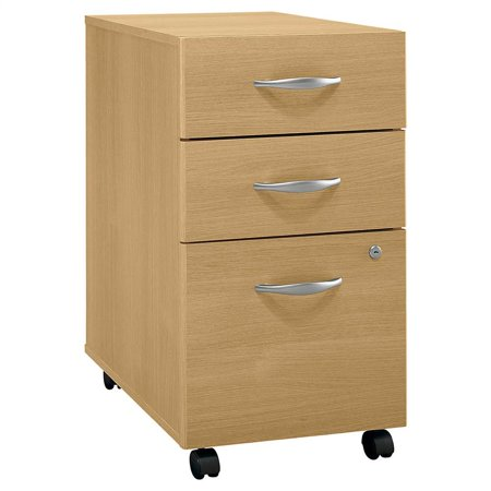 Three Drawer Assembled Rolling File Cabinet in Light Oak