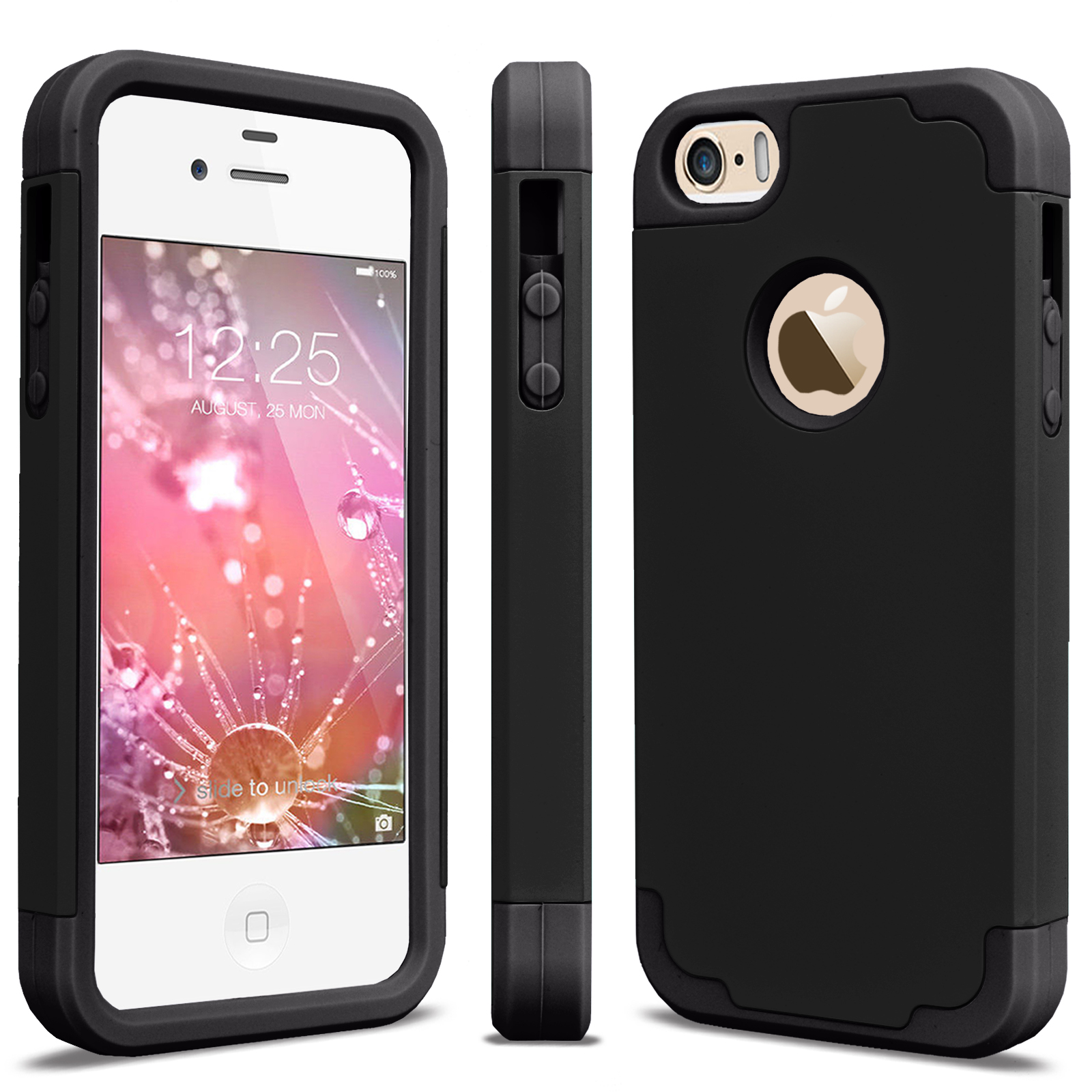 iPhone SE Case, iPhone SE Cute Case, iPhone SE Phone Case, Njjex [Purple/Black] Shock Absorbing Hard Slim Thin Cute Cover [Scratch Proof] Plastic Shell+TPU Rubber Inner For iPhone SE