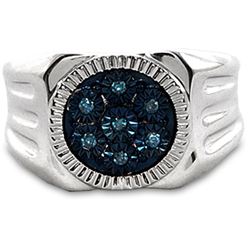 Men's Blue Diamond Accent Circle Sterling Silver Ring