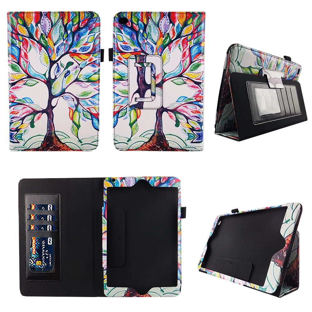 Lovely Tree iPad mini 4 Case Premium Pu Leather Folio Case Slim Fit Standing Cover Auto Sleep / Wake Feature for Apple iPad mini 4 2015 Table Stylus Holder ID Slots