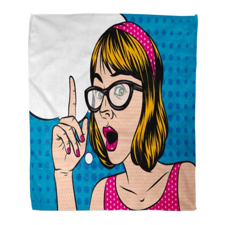 ASHLEIGH Flannel Throw Blanket Girl Short Hair in Shocked Emotions Woman Glasses Holds Soft for Bed Sofa and Couch 50x60 (Glasses For Short Hair)