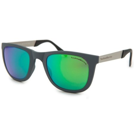 Technomarine Black Reef TMEW001 Wayfarer Mirrored Lens Sunglasses - Made in Italy-Green / Grey](Orange Wayfarer)