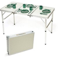 Trademark Innovations Portable Adjustable Lightweight Aluminum Folding Table, Silver and Beige