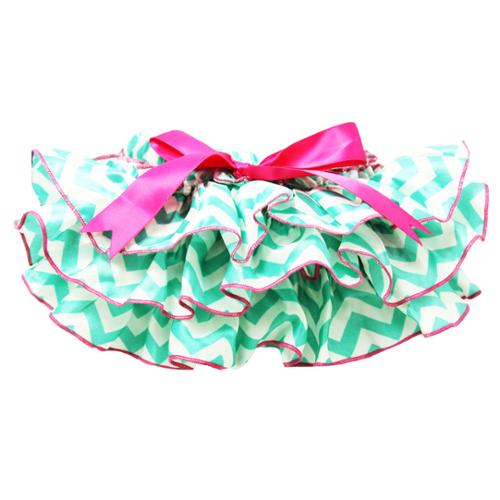 Baby Girls Turquoise and Hot Pink Chevron Satin Bloomers 0-6 Months