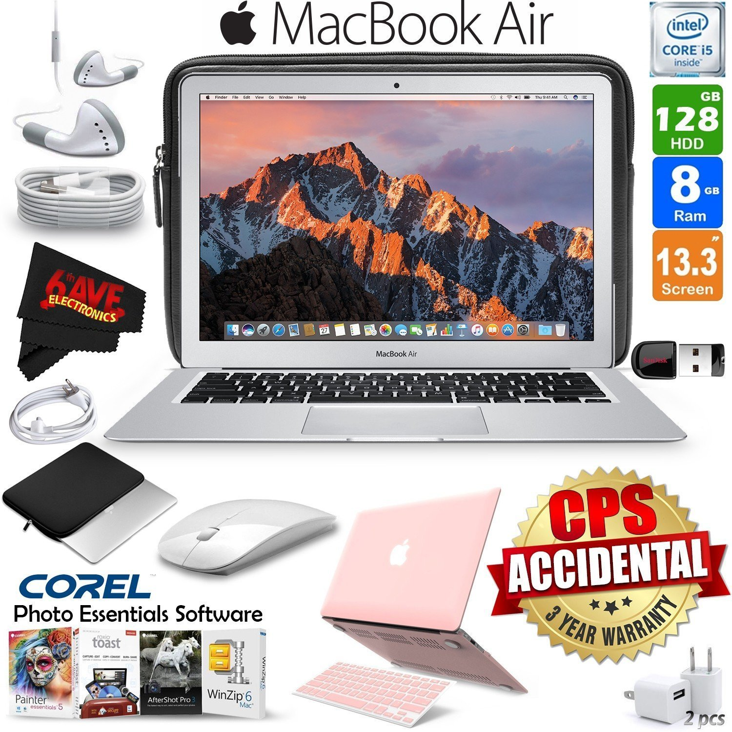 """6Ave Apple 13.3"""" MacBook Air 128GB SSD MQD32LL/A + iBenzer Basic Soft-Touch Series Plastic Hard Case & Keyboard Cover for Apple Macbook Air 13-inch 13"""" (Turquoise) + 3 Foot USB Cable 1 Meter Bundle"""