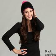 Minus33 Unisex 'POM' Expedition Weight Merino Wool Beanie Hat Black and Pink