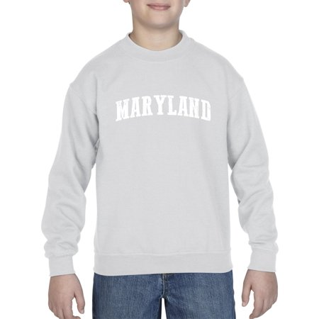 J_H_I MD Maryland Map Baltimore Flag Terrapins Terps Home University of Maryland  Unisex Youth Kids Crewneck Sweater Clothing