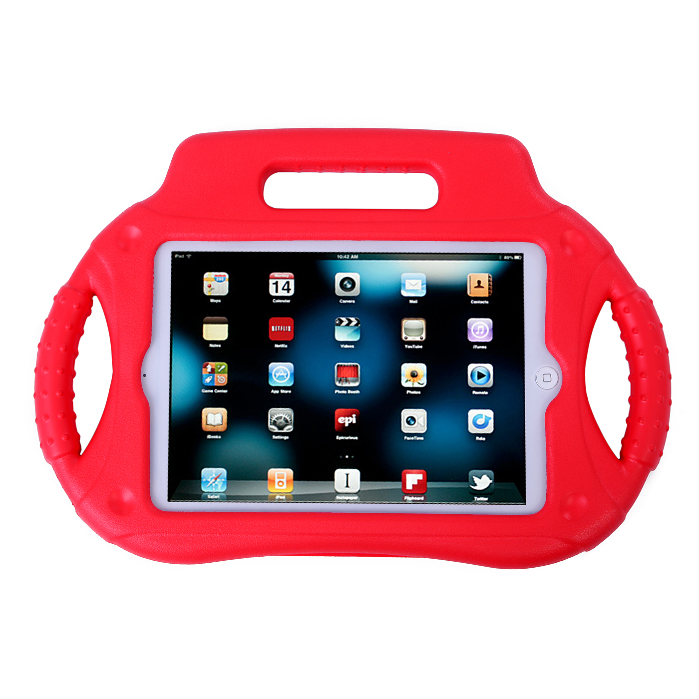 HDE iPad Mini Case Kids Shock Proof Steering Wheel Cover with Stand for Apple iPad Mini / Mini 2 / Mini 3 / Retina (Red)
