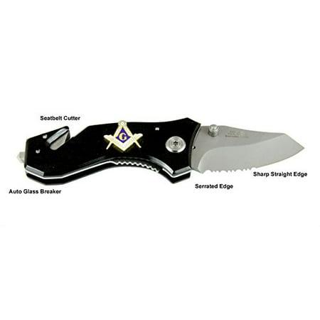 Mason Emblem Knife Auto Glass Breaker Seat Belt Strap Cutter Masonic Freemason