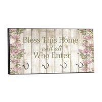 "Bless This Home and All Who Enter on Vintage Style Wood Print with Roses - 5"" by 11"" Key Hanger Rack - Household Decoration with Four Silvertone Hooks"