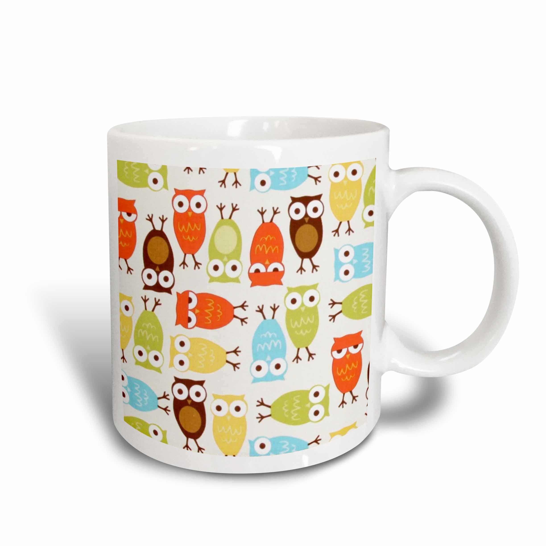 3dRose Owl I Cute In Olive Green n Yellow Orange, Ceramic Mug, 15-ounce