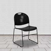 Flash Furniture HERCULES Series 880-Pound Capacity Black Ultra Compact Stack Chair with Black Frame, RUT-188-BK-GG