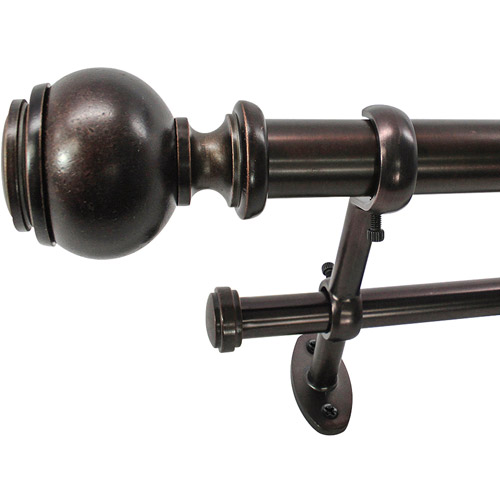 "Image of 22 Park West Capped Ball 1"" Double Telescoping Curtain Rod Set"