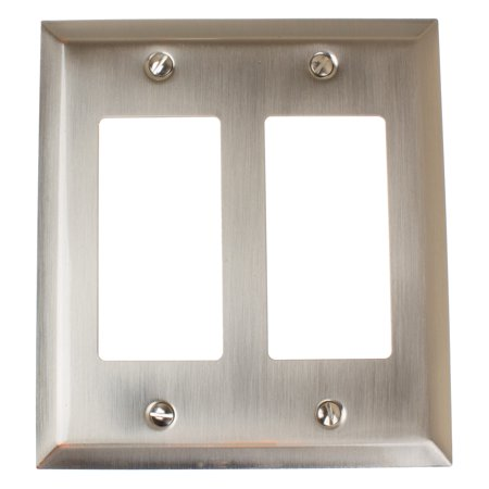 Hardware Metal Plate - GlideRite Hardware Double Rocker 2-Gang Beveled Edge Wall Plate Cover, Brushed Nickel