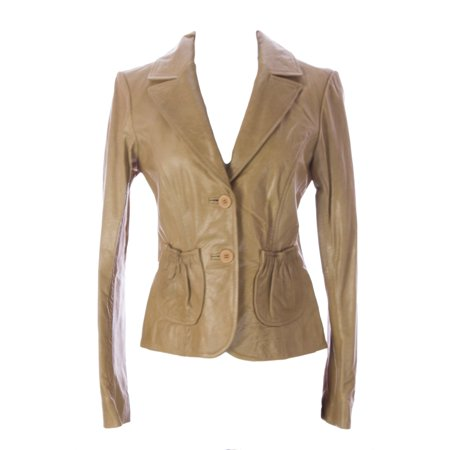 Doma Leather - Doma by Luciano Abitboul Women's Two-Button Leather Blazer Jacket