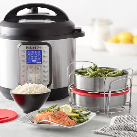 Instant Pot® Official 7-Piece Cook/Bake Set: 2 Pans, 2 Wire Racks and 2 Red Silicone Lids