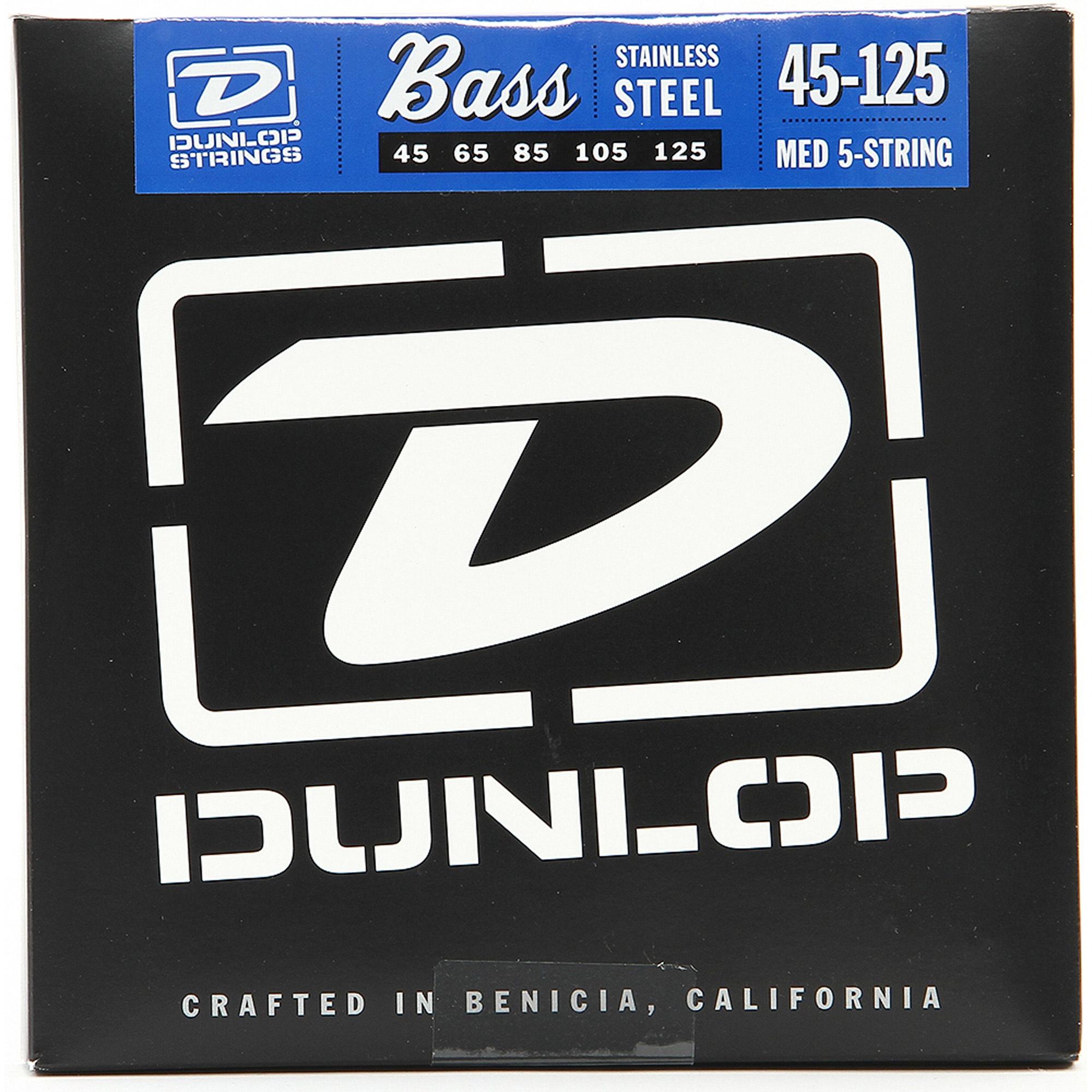 Dunlop DBN45125 Nickel Medium 5 String Stainless Steel Bass Guitar Strings .45-.125