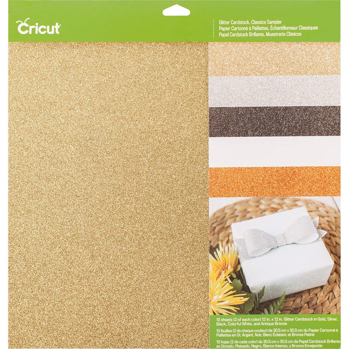 "Adhesive Sheets, 12"" x 12"", Assorted, Provo Craft-Cricut Glitter Cardstock Sampler: Classics By Cricut"