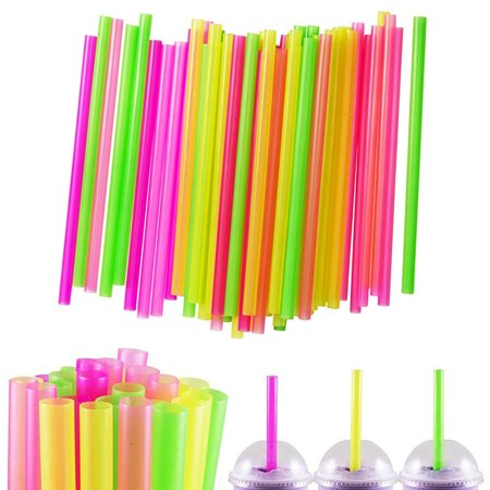 100 Pcs Neon Drinking Straws Smoothie Milkshake Boba Bubble Tea Plastic Jumbo ()