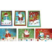 "Set of 6 Jumbo Christmas/Holiday Gift Bags Giant Paper 24""x18""x7"" Santa, Snowman, Penguin Designs (6 Pack)"