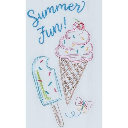 Summer Fun Ice Cream Embroidered Flour Sack Kitchen Towel