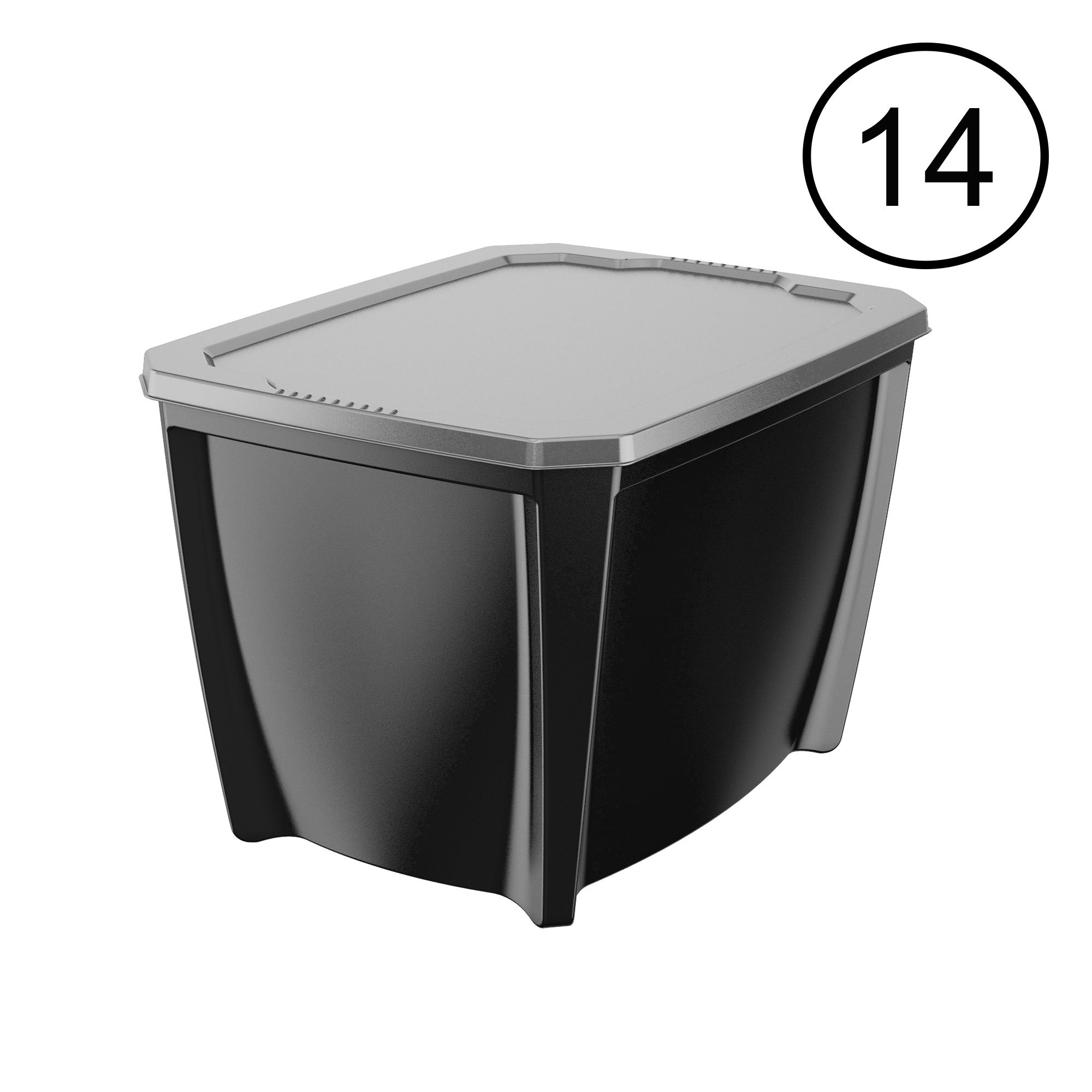 Life Story Black 20 Gal Stackable Organization Storage Box Container (14 Pack)