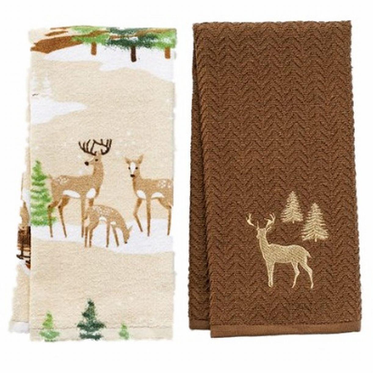 St Nicholas Square Christmas Deer Kitchen Towel Set Forest Deer