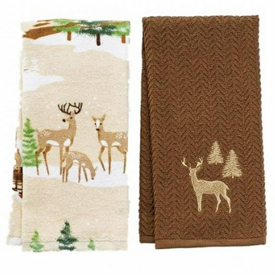 Christmas Kitchen Towels At Walmart: St Nicholas Square Christmas Deer Kitchen Towel Set Forest