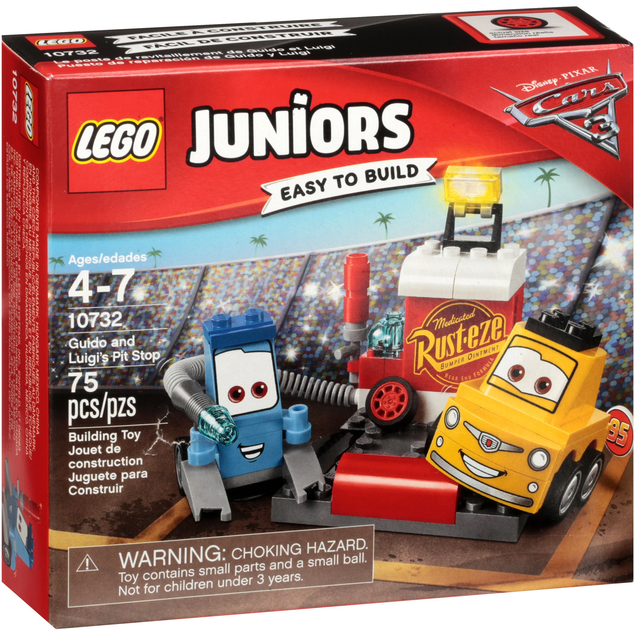 Lego® Juniors Disney Pixar Cars 3 Guido and Luigi's Pit Stop Building Toy 75 pc Box