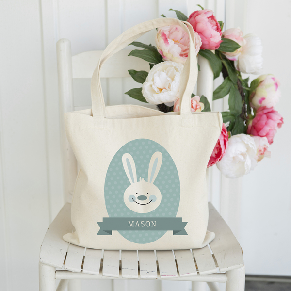 Personalized Easter Tote Bags - Blue Bunny