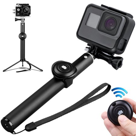 Selfie Stick Tripod Bluetooth, 3 In 1 Extendable iPhone Tripod, Tripod  Stand Selfie Stick Gopro with Bluetooth Remote Aluminum Alloy 360 Rotation