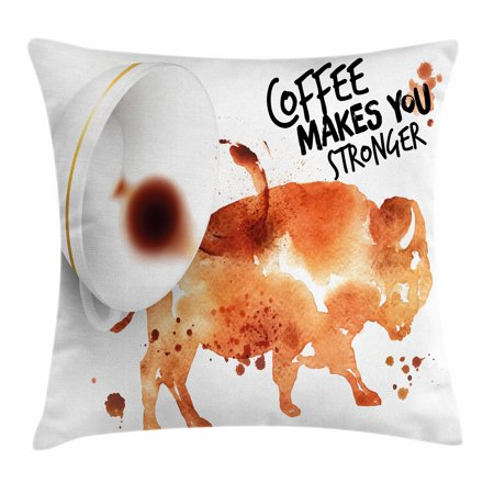 Coffee Art Throw Pillow Cushion Cover, Conceptual Design with Inverted Americano Cup Strong Animal Bull, Decorative Square Accent Pillow Case, 18 X 18 Inches, Burnt Sienna Black White, by Ambesonne