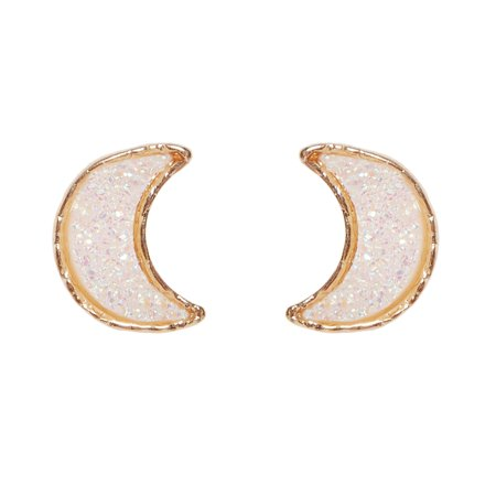Simulated Druzy Stud Earrings for Women - Gold-Tone Plated Half Crescent Moon Phase Sparkly Crystal Post Ear Studs by Humble Chic NY, Simulated Opal Moon, Pearly White, Opalescent, Simulated Moonstone