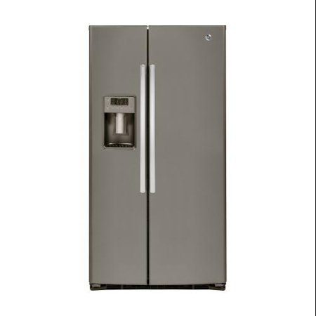 GSE25HMHES 36 Side by Side Refrigerator with 25.4 cu. ft. Capacity Adjustable Glass Shelves LED Lighting Glass Freezer Shelves Door Bins and Fresh Food Multi-Level Drawers: Slate