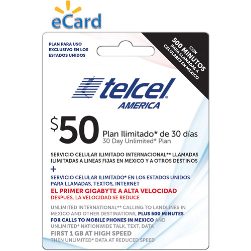 TelCel Unlimited International Long Distance Talk, Text and Data, 1GB at 4G, 500 Min Mex Cell $50 (Email Delivery)