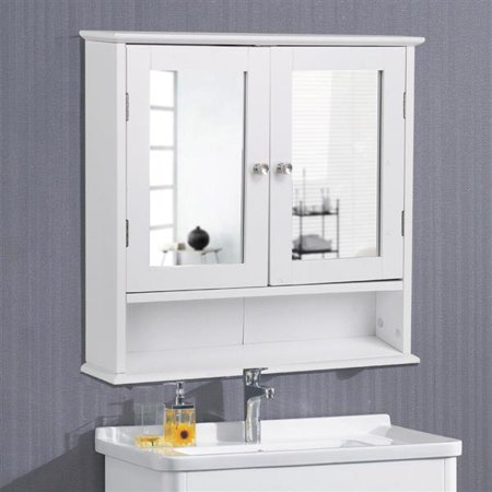 Topeakmart Wooden Bathroom Cabinet for The Wall with Double Mirror Doors White