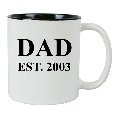 Dad Established Dad EST. 2003 11 Ounce Ceramic Coffee Mug with C-Handle, Black - By CustomGiftsNow 11 Ounce C-handle Mugs