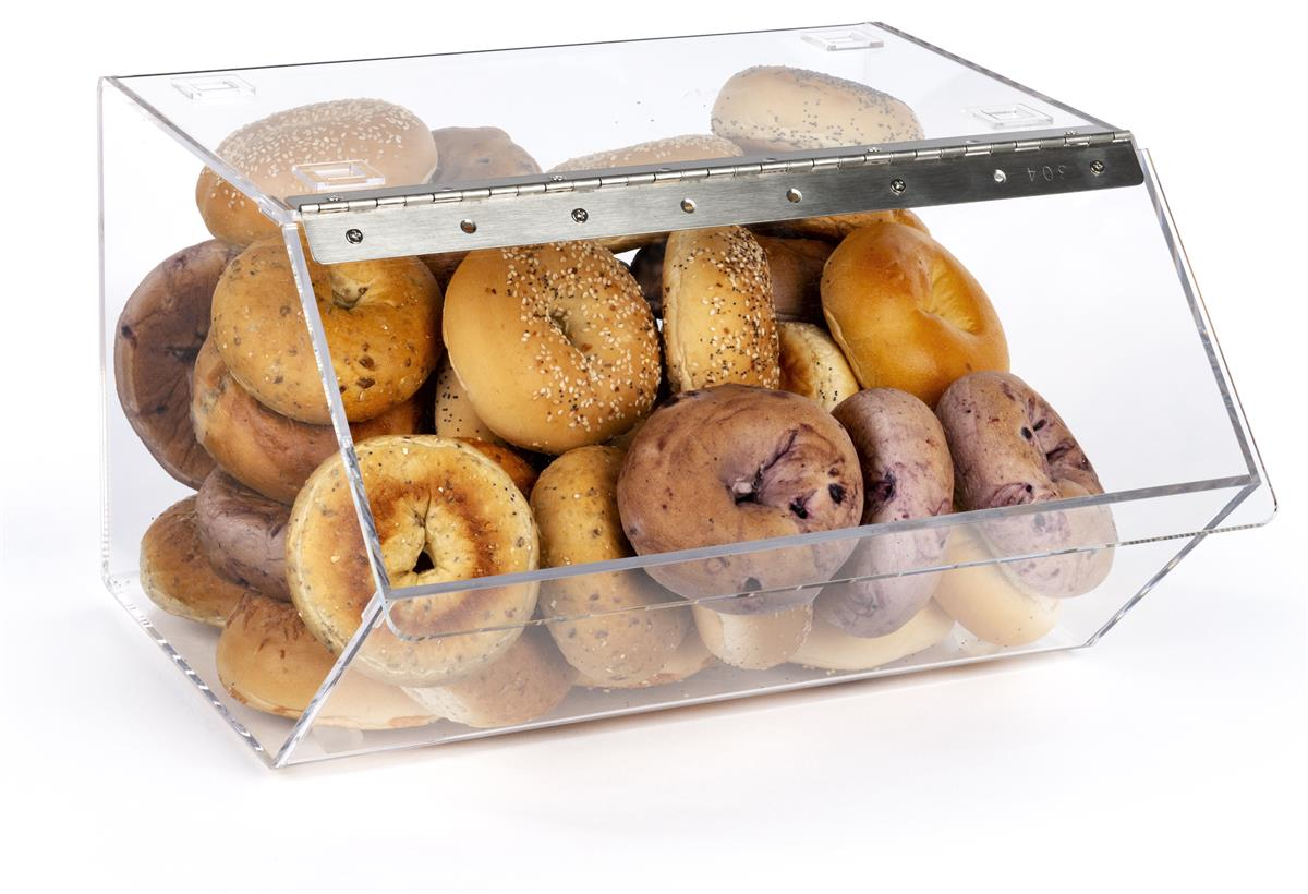 Clear Pastry Display Case For Bagels And Other Baked Goods Clear Stackable With A Hinged Door Bgl16st Walmart Com Walmart Com